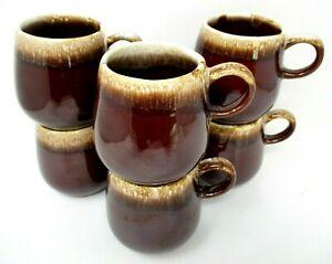 McCoy USA Pottery mugs 7025 cups brown drip set of 6 vintage