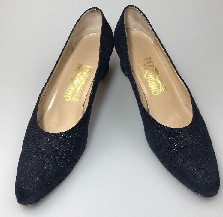 Salvatore Ferragamo Classic Pumps Block Heel Blau Suede Sz 7.5 AAAA Evening Schuhe
