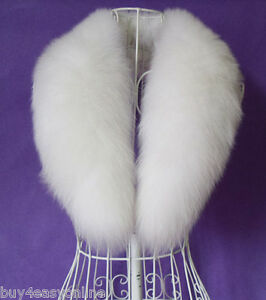 Real-Natural-White-Fox-Fur-Collar-Detachable-Down-Jacket-Fur-Scarf-Wrap-Shawl-US