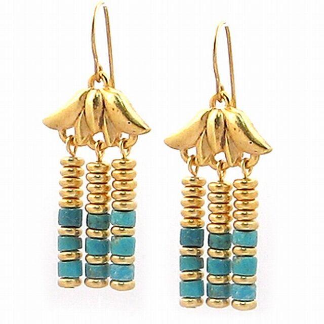 gold Plated Lotus Egyptian Royal Triple Drop Turquoise Earrings 1.5  Long