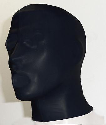 BLACK PREMIER LATEX RUBBER FULLFACE MASK HOOD  NO HOLES SIZES M L XL