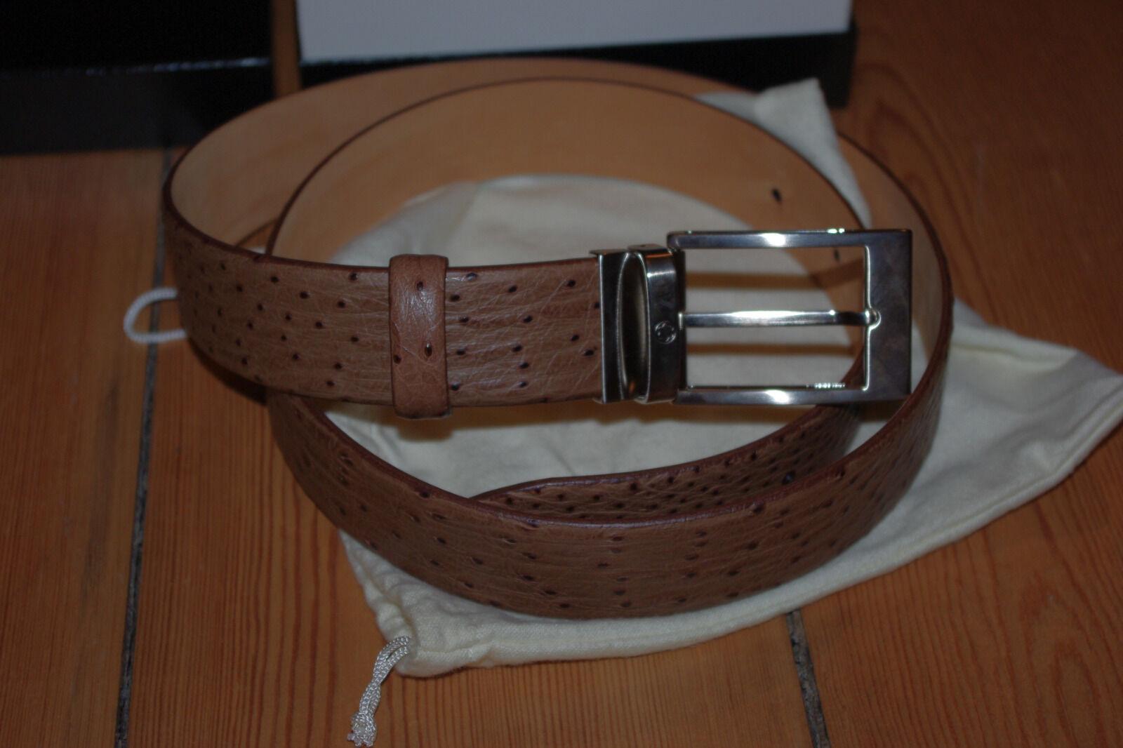 Montblanc Herren Ledergürtel Brown Ostrich Leather Belt Straußenleder Design NEU