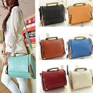 Image Is Loading Women Leather Handbag Shoulder Las Purse Messenger Satchel