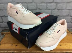 FILA-LADIES-UK-7-EU-40-PEACH-WHIP-ORBIT-ZEPPA-LEATHER-CHUNKY-SOLE-TRAINERS