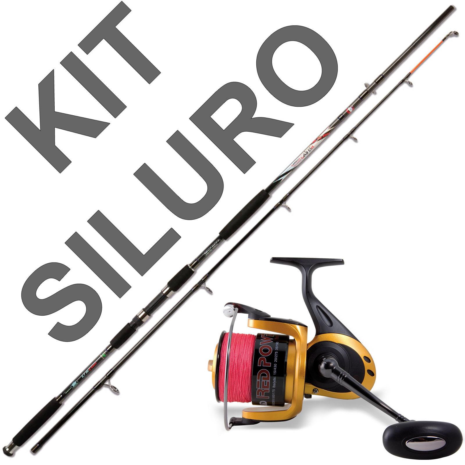 Kit canna da siluro con e mulinello con siluro trecciato incluso pesca catfishing PL1275 96a652