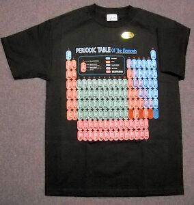 PERIODIC-TABLE-OF-ELEMENTS-BLACK-SCIENCE-T-SHIRT-YOUTH-MEDIUM-GLOW-in-DARK
