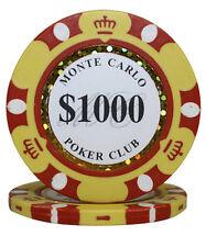 100pcs 14g Monte Carlo Poker Club Casino Poker Chips $1000