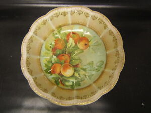 "Scalloped 10.5"" Diameter Disciplined Empire China Bowl W/ Apples Ribbed Panels Antiques"