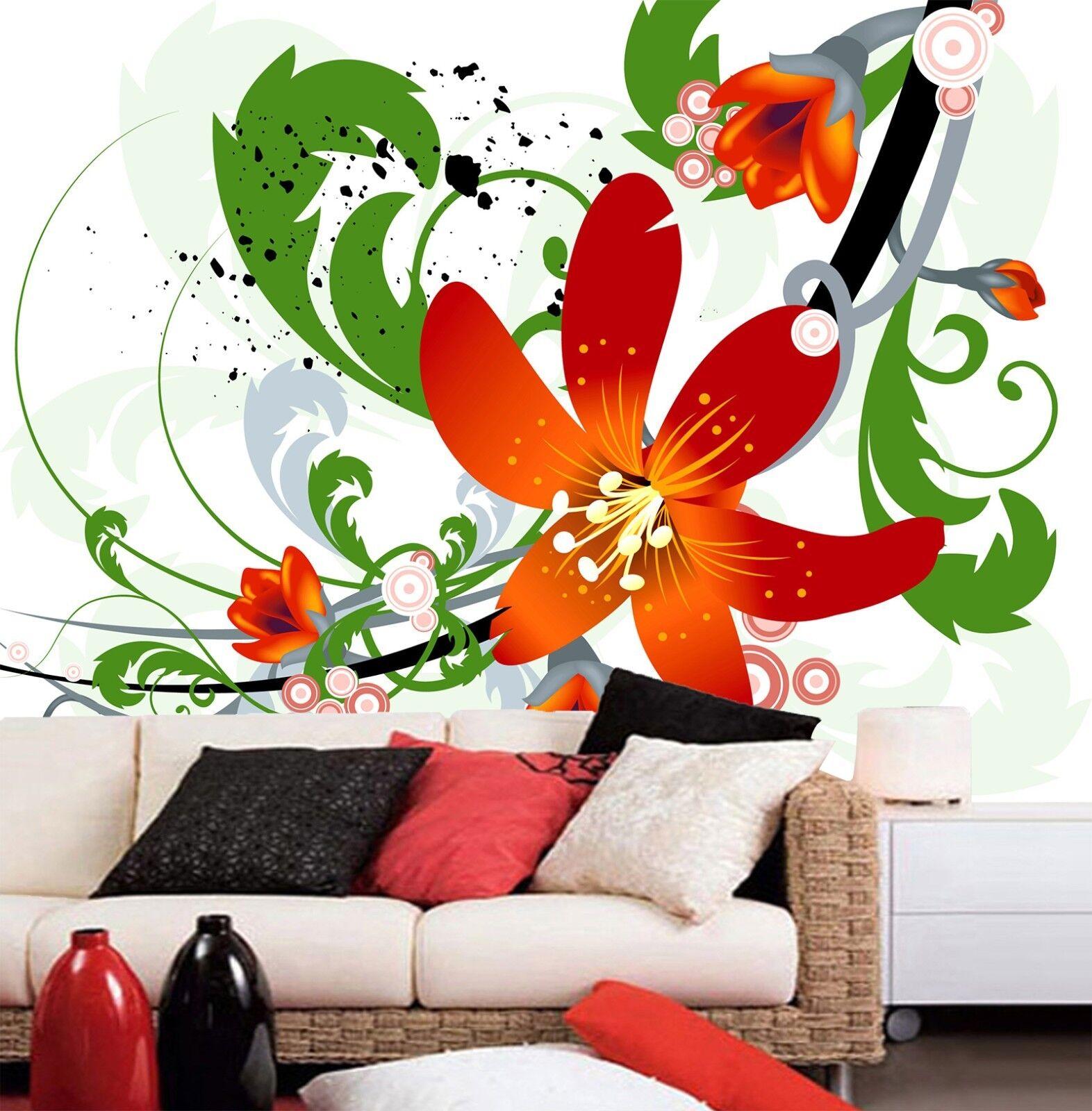 3D Gemalte Blumen Blätter 899 Tapete Wandgemälde Tapeten Bild Familie DE Lemon