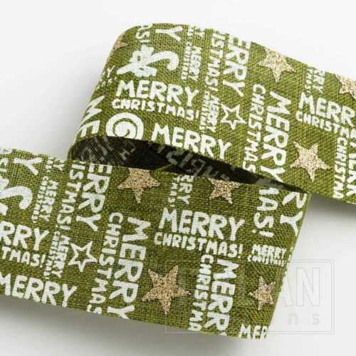 38mm Red and Green Merry Christmas Ribbon 1 and 5 Mtr Lengths