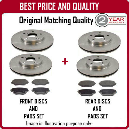 FRONT AND REAR BRAKE DISCS AND PADS FOR TOYOTA AVENSIS TOURER 2.2D-CAT 4//2009