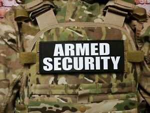 """3x8/"""" ARMED SECURITY OFFICER Black White Hook Back Patch Badge for Plate Carrier"""
