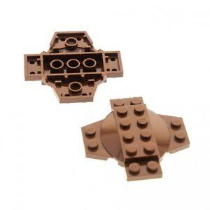 2-x-Lego-System-Kreuz-Platte-braun-6x6x2-3-mit-Kuppel-Kessel-Deckel-Standfuss-Sta