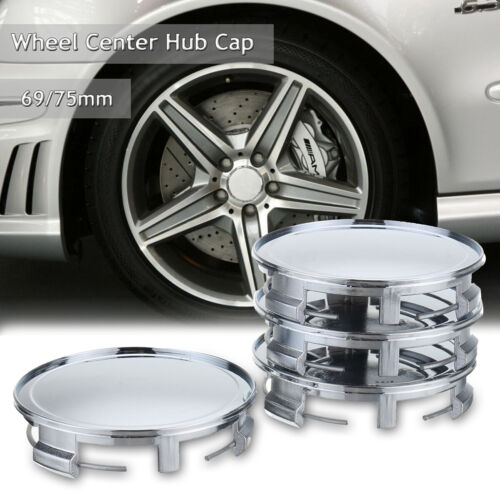 4Pcs Chrome 75mm// 69mm Car Wheels Center Caps Hub Cover For Mercedes NO LOGO  ;