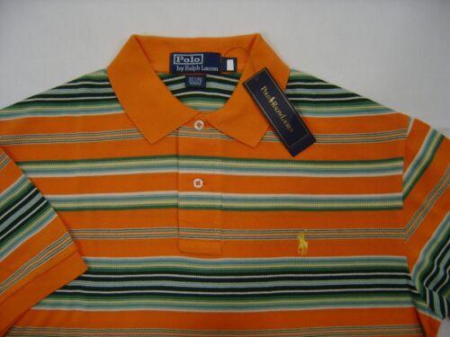 Polo Ralph Lauren Mens Pony Logo Shirt XL Short Sleeve Orange Green Striped $90