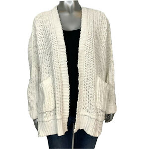 Details about Hollister Womens XSS White Chunky Knit Open Front Long Sleeve Cardigan Sweater
