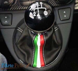 Cuffia-leva-cambio-Fiat-500-312-Bj-2007-2019-vera-pelle-nera-tricolore