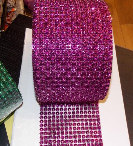 11.5cm púrpura Diamonte efecto de cristal estrás para Decoración de Pasteles Cinta de Malla
