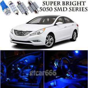 For Hyundai Sonata 2011-2014 Blue LED Interior Kit + White LED License Light 10X