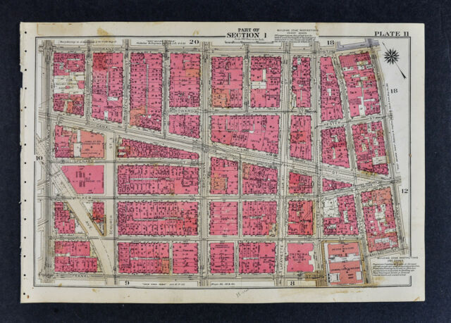 1834 New York City Map Manhattan Canal Street Little Italy Chinatown ...