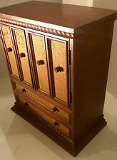 "ANTIQUE Dresser Wood Jewelry Box 8 Drawers Nice Hardware By Prestige JAPAN 16"""