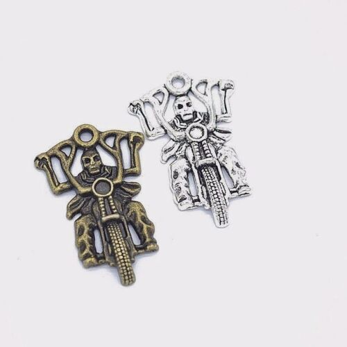 "4x SKELETON MOTORCYCLE RIDER BIKER Pendant CHARMS 1-3//4/"" x 1-1//8/"" One-Sided"