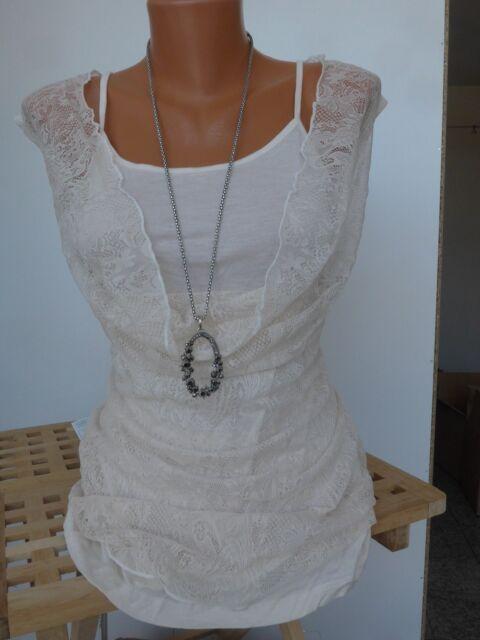 Aniston Spitzen Top Shirt Gr. 34 - 44 Creme 2 Teilig Spitzenshirt (300) NEU