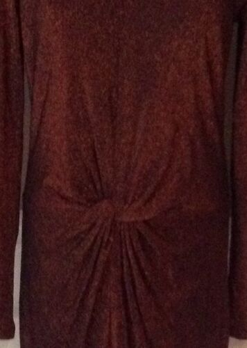Ted Baker London 3//M//8 Lizzy/'s Front Twist Sparkle Dress In Sparkly Rust
