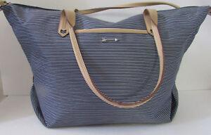 Details About Stella Dot How Does She Do It Navy Stripe Shoulder Travel Bag Purse Bin