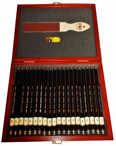 KOH-I-NOOR 8B TO 10H 20 PCS SET OF MECHANICAL PENCILS 2.0 MM  IN WOODEN BOX 5900