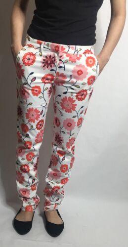 PIN UP Girl-Women Printed White//Pink Flowers Skinny Pants Mutli Size