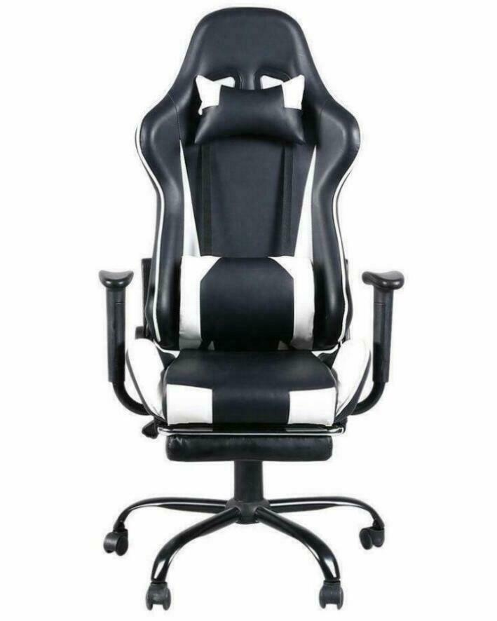 High Back Black & White Gaming Chair Reclining Office Executive Task Computer