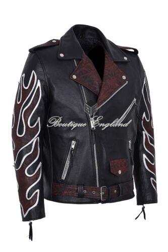 Nero Classico BRANDO oxred FIAMMA MEN/'S biker pelle giacca in vera pelle MBF