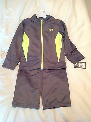 Boys Under Armour Athletic Long Pants Full Zip Jacket Size 4T Gray Yellow NWT
