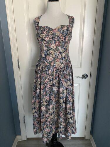 VTG 1980s Handmade Floral Sweetheart Dress Laura A