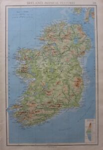 Plain Map Of Ireland.1942 Map Ireland Central Plain Eire Wicklow Mountains Of Mayo Golden