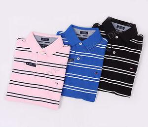 Tommy-Hilfiger-Men-Stripe-Pique-Mesh-Polo-Shirt-Custom-Fit-Free-0-Shipping