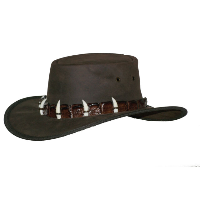CROCODILE DUNDEE! Barmah Leather Hat Wth Genuine Crocodile Skin and Teeth Band