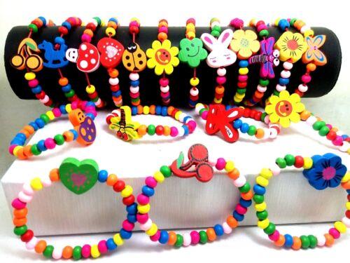 60stk.Farbe Holz Armbänder elastisch Sonderposten Kinderschmuck