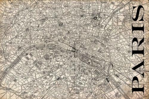 """Vintage Map of Paris 20/"""" x 30"""