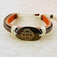 Adjustable Unisex Celtic Knot Leather Bracelet
