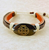 Adjustable Unisex Celtic Knot Leather Bracelet