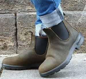 BLUNDSTONE-Schuh-1615-Echtleder-Dark-Olive-Damen-Chelsea-Boots-Wechselfussbett
