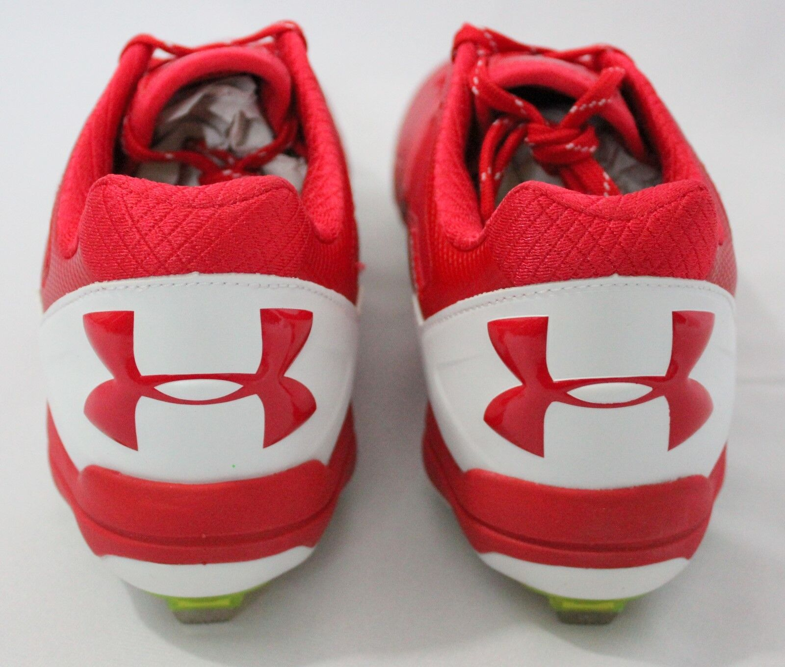 buy popular f878f 08abc ... Under Armour Mens Deception Low DiamondTips Baseball Cleat Red White  Red White Red  ...