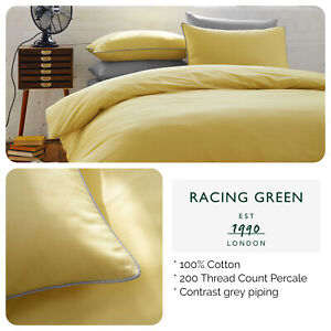Racing-Green-100-Cotton-200TC-Ochre-Yellow-Duvet-Set-with-Contrast-Piping