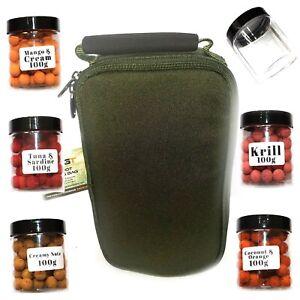 Carp Fishing Hook Bait Boilie Set in Glug Pots OLIVE Holdall Bag