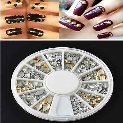 120Pcs Gold and Silver Metal 3D Nail Art Tips Fashion Metallic Studs Decorations