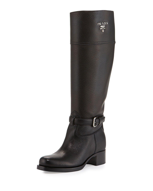 100 Authentic Women PRADA Cervo Logo Black Knee High Riding BOOTS US ... 083f95aacf0f