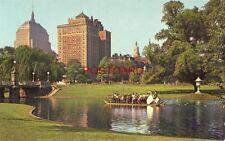 SWAN BOATS & BACK BAY SKYLINE, PUBLIC GARDEN in the heart of BOSTON, MA.
