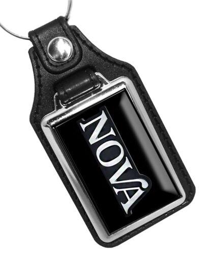 Compatible with 1975 Chevy Chevrolet Nova Black Silver Emblem Design Key Ring